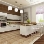 Светлая барная стойка для кухни