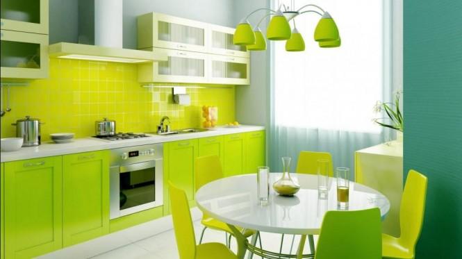 Светло зеленая кухня