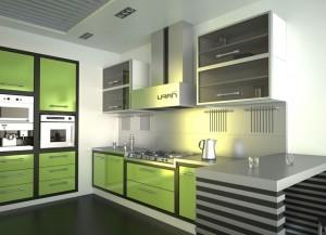 Сочетание зеленой кухни с серым