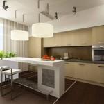 Современная просторная кухня с барной стойкой