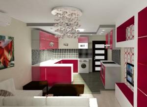 Интерьер кухни студии 20 кв.м