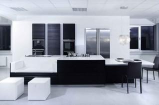Черно-белая кухня – дизайн, фото и секреты