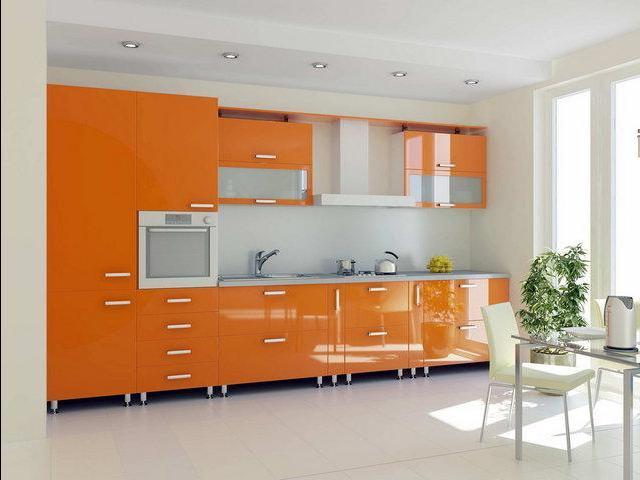 Интерьер для оранжевой кухни
