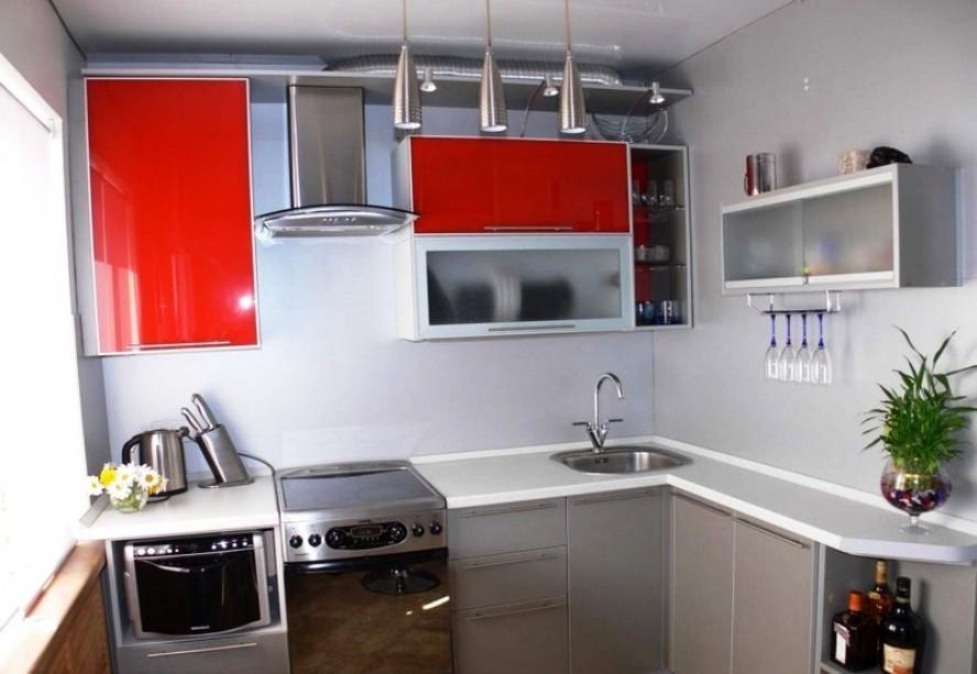 интерьер малогабаритной угловой кухни фото