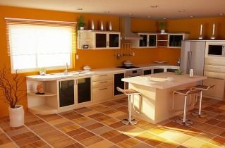 Оранжевая кухня в интерьере, фото