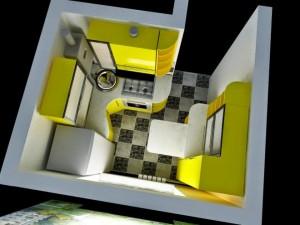 Красивая маленькая кухня 5 кв. м в желтых тонах