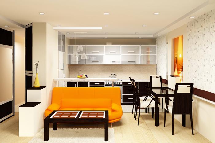 Дизайн кухни как студия с гостиной