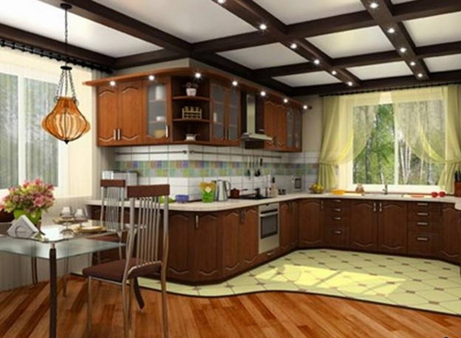 кухня в частном доме с двумя окнами фото