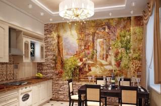 Фрески на стену в интерьере кухни, фото