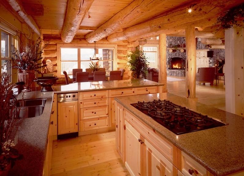 Кухня в деревянном доме дизайн интерьера