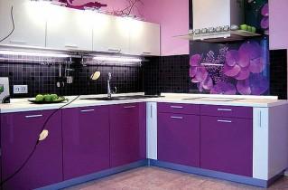 Кухни фиолетового цвета: дизайны, сочетания оттенков и особенности