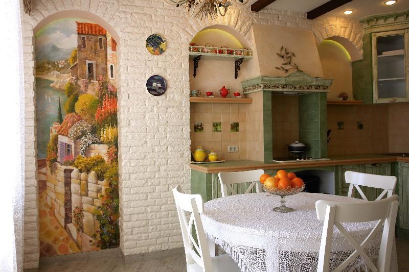 Фрески в интерьере кухонь, фото