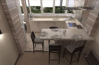 Кухня, объединенная с балконом. Идеи дизайна и фото