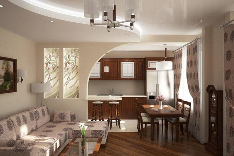 Дизайн кухни-гостиной 30 кв.м фото с зонированием