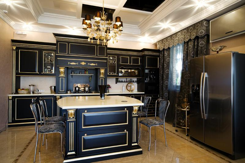 Декор большой кухни