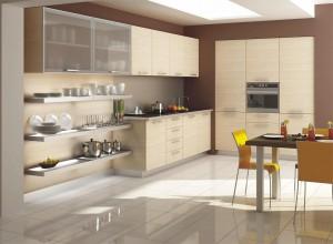 Сочетание цвета бежевой кухни