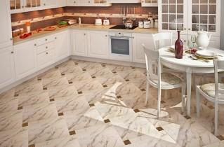 Керамогранит идеально смотрится на кухне